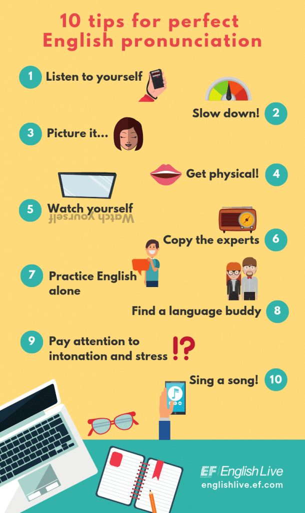 infographic 10 tips for perfect English pronunciation