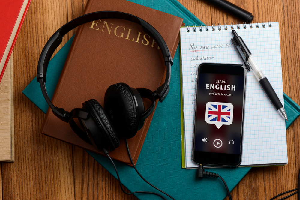 english book headphones mobile audio podcast to learn english